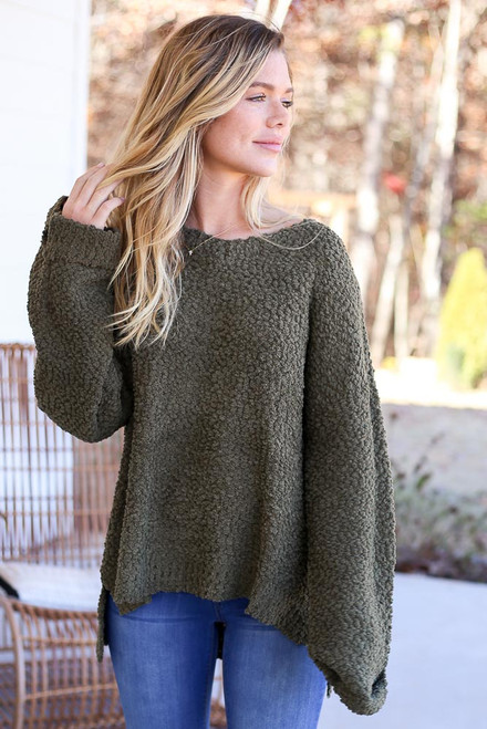 Olive - Oversized Popcorn Knit Sweater