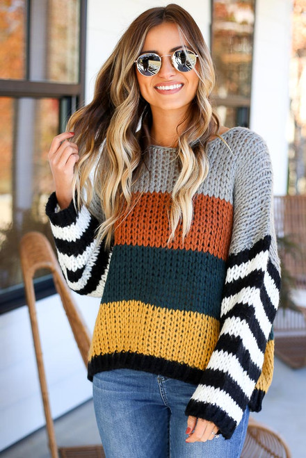 Rust - Color Block Chunky Knit Sweater