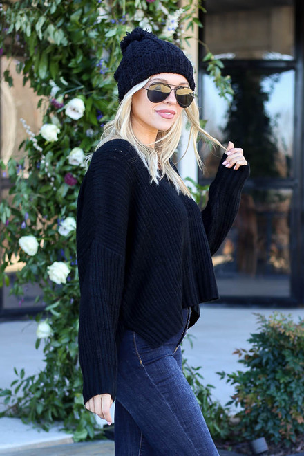 Black - Slouchy V-Neck Sweater Side View