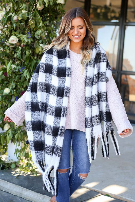 White - Buffalo Plaid Fringe Scarf