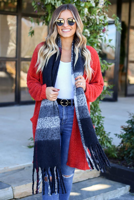Black - Fringe Plaid Blanket Scarf