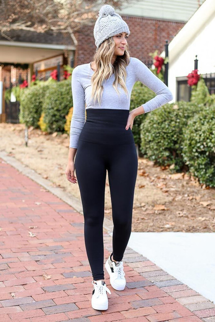 Black - Fleece Lined Control Top Leggings from Dress Up