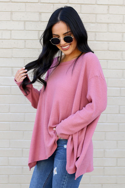 Mauve - Oversized Waffle Knit Top from Dress Up