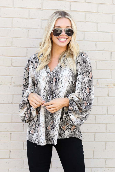 Ivory - Snakeskin Balloon Sleeve Blouse from Dress Up