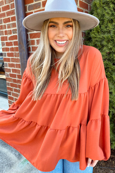 Rust - Tiered Babydoll Blouse
