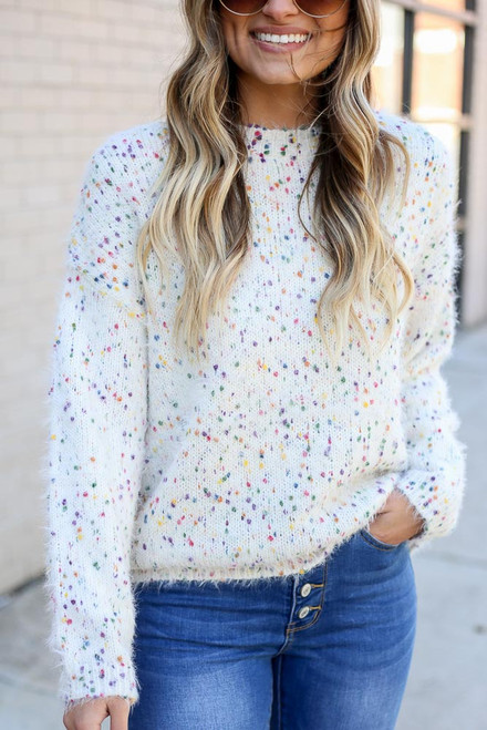 Ivory - Confetti Eyelash Knit Sweater