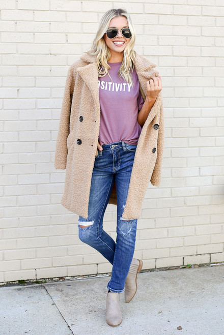 Lilac - Positivity Graphic Tee with sherpa teddy jacket and distressed jeans from Dress Up