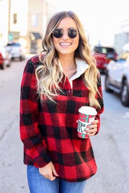 Red - Buffalo Plaid Sherpa Pullover from Dress Up