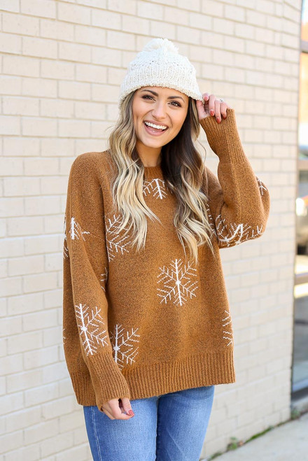 Camel - Snowflake Knit Sweater from Dress Up Front View