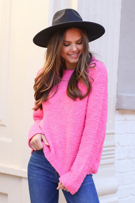 Neon Pink - Fuzzy Knit Sweater on Dress Up Model