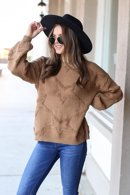 Camel - Luxe Knit Balloon Sleeve Star Sweater from Dress Up with jeans