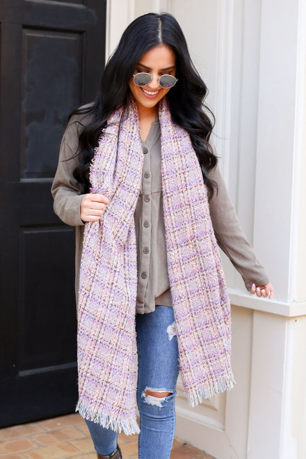 Grey - Plaid Fringe Blanket Scarf on model
