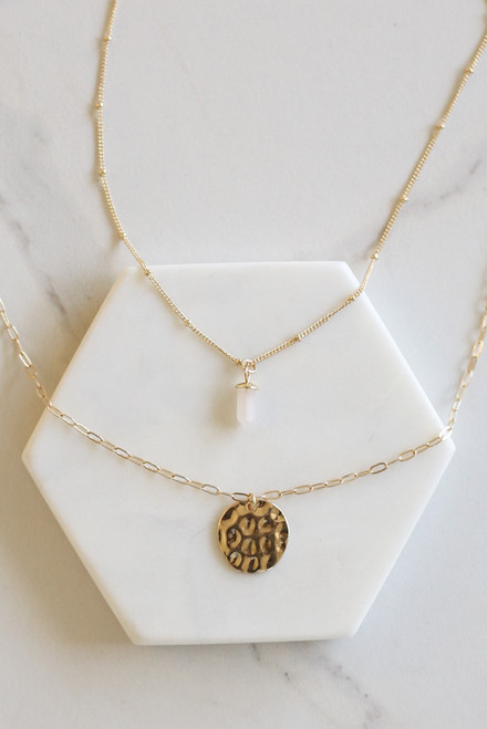 Gold - Stone and Disk Layered Necklace Flat Lay