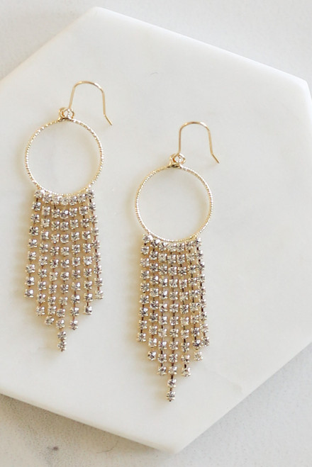 Gold - Hoop and Rhinestone Drop Earrings from Dress Up Flat Lay