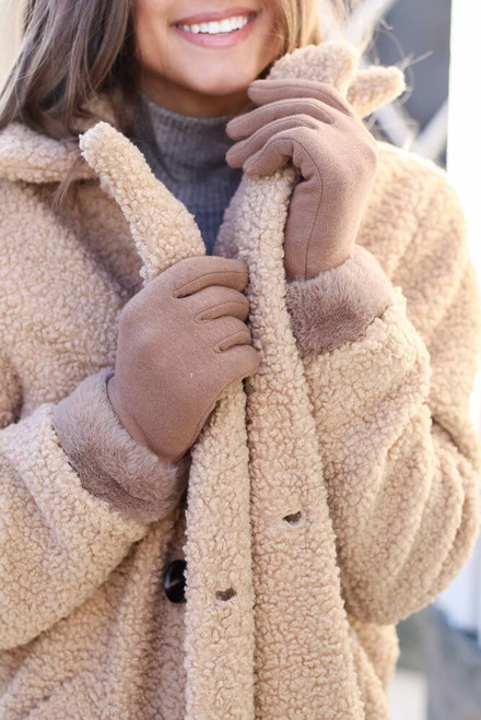 Taupe - Faux Fur Lined Gloves from Dress Up  on Model with Teddy Coat