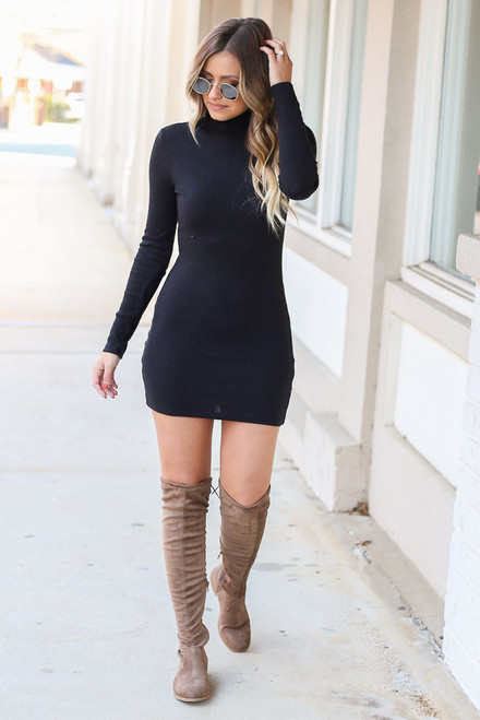 Black - Ribbed Bodycon Dress from Dress Up