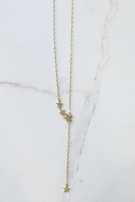 Gold - Rhinestone Star Drop Necklace from Dress Up