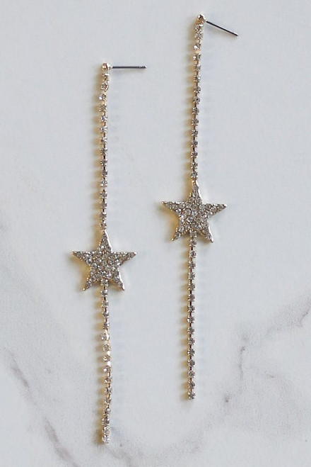 Gold - Rhinestone Star Drop Earrings Flat Lay