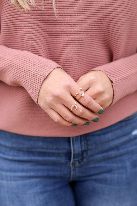 Gold - Star and Moon Ring Set