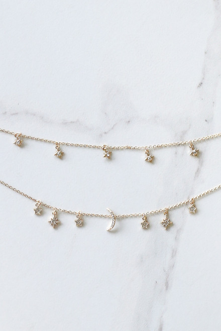 Gold - Star and Moon Rhinestone Layered Necklace