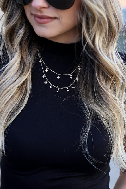 Gold - Model wearing the Star and Moon Rhinestone Layered Necklace