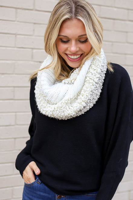Ivory - Popcorn Knit Infinity Scarf from Dress Up