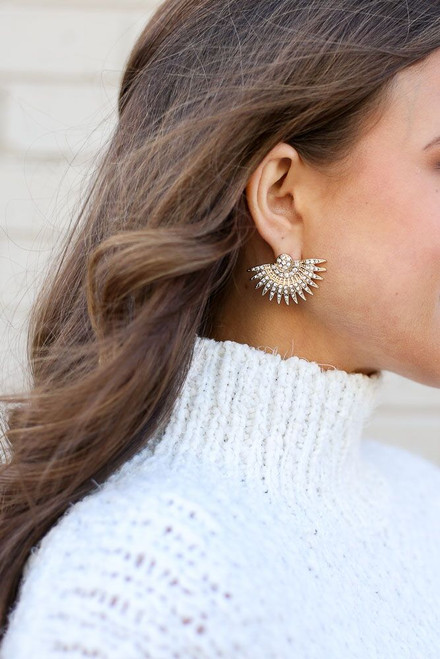Gold - Rhinestone Fan Statement Stud Earrings