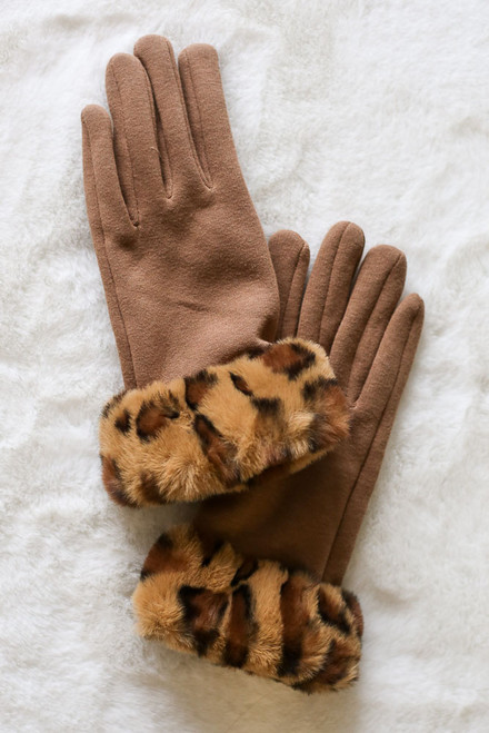 Taupe - Leopard Print Faux Fur Lined Gloves from Dress Up Flat Lay on faux fur background
