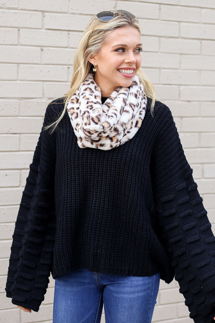 Ivory - Faux Fur Infinity Scarf on Model
