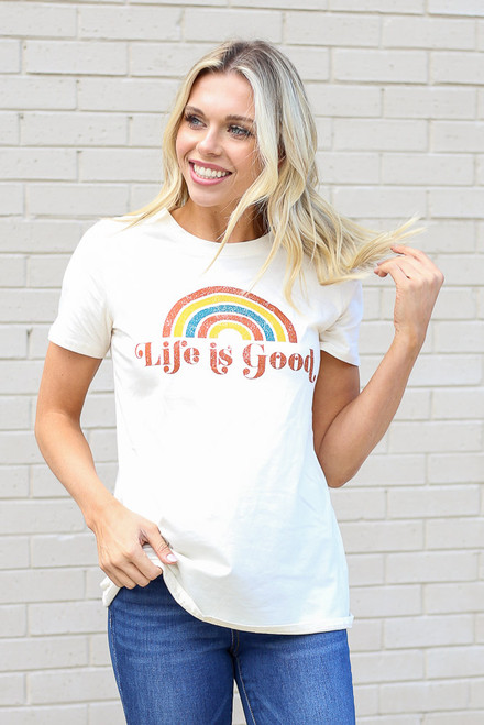 Ivory - Life is Good Graphic Tee from Dress Up