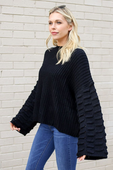 Black - Textured Knit Wide Sleeve Sweater from Dress Up