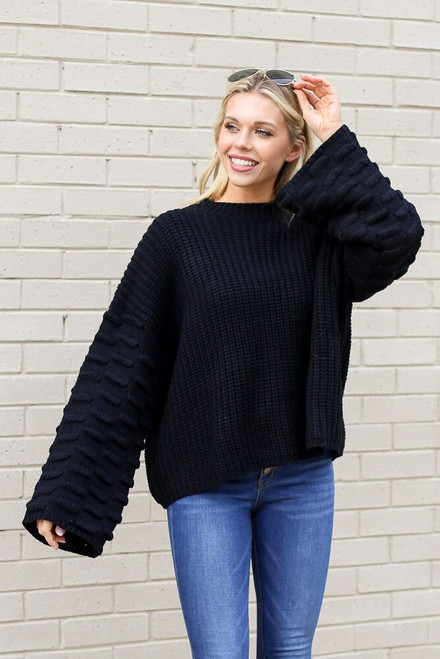 Black - Textured Knit Wide Sleeve Sweater