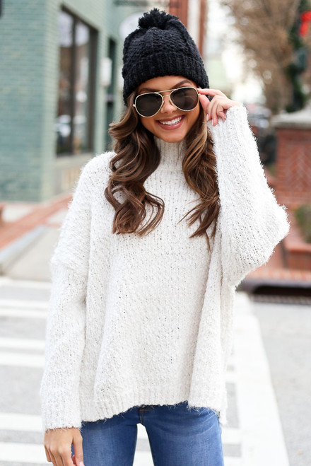 White - Popcorn Eyelash Knit Oversized Sweater