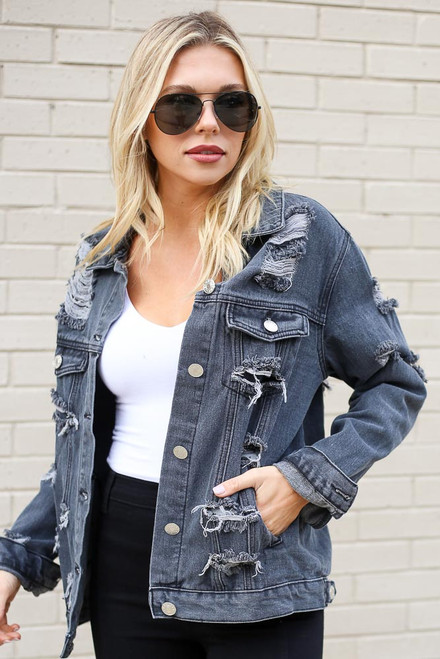 Charcoal - Distressed Denim Jacket