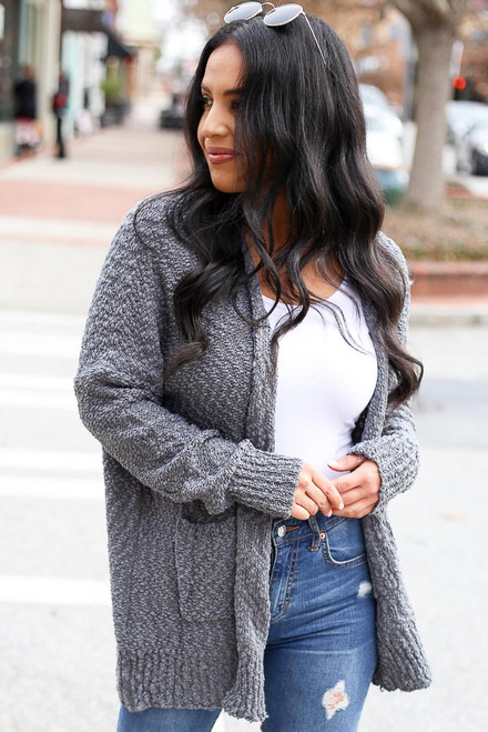 Charcoal - Popcorn Knit Cardigan from Dress Up