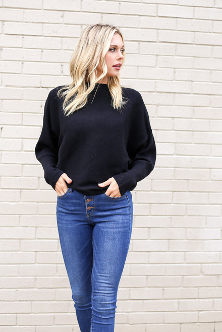 Black - Ribbed Drop Sleeve Sweater