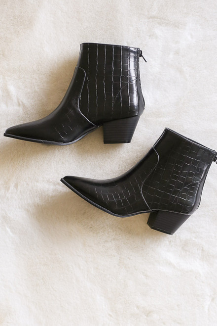 Black - Flat Lay photo of the Crocodile Pointed Toe Booties from Dress Up