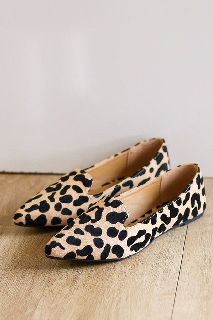 Tan - Leopard Pointed Toe Loafer Flats
