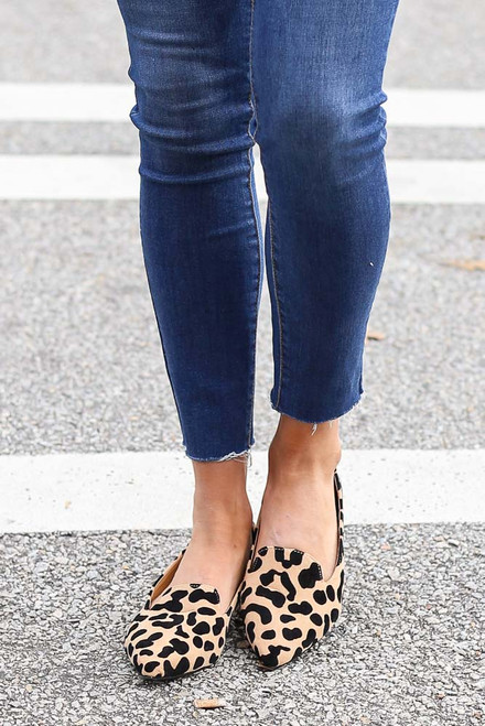 Tan - Leopard Pointed Toe Loafer Flats from Dress Up