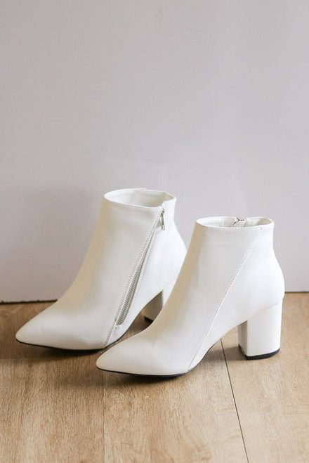 White - Block Heel Ankle Booties from Dress Up