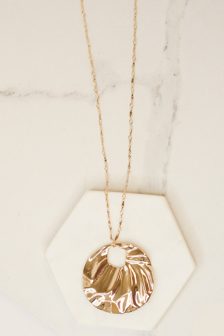Gold - Hammered Pendant Necklace