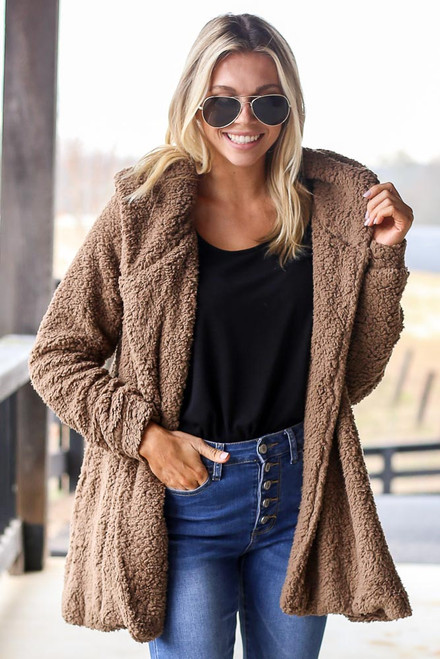 Mocha - Hooded Sherpa Teddy Jacket from Dress Up