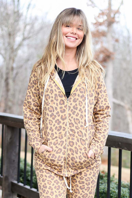 Model of Dress Up wearing the Camel Leopard Fleece Lined Jacket and black graphic tee