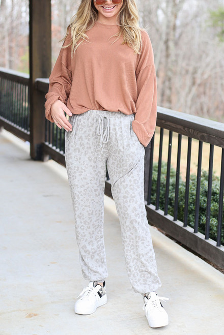 Grey - Leopard Brushed Knit Joggers
