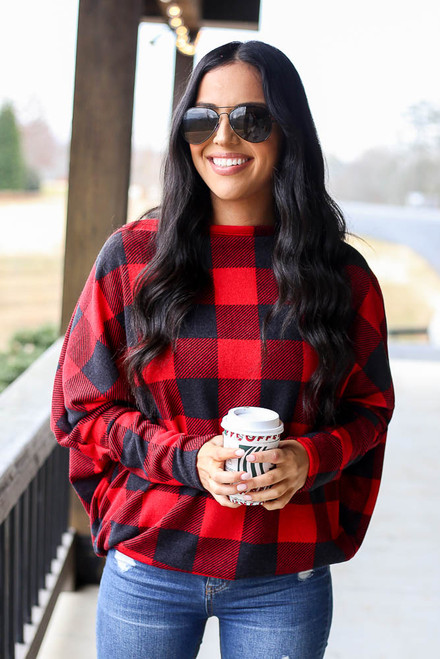 Red - Buffalo Plaid Oversized Off the Shoulder Tunic from Dress Up