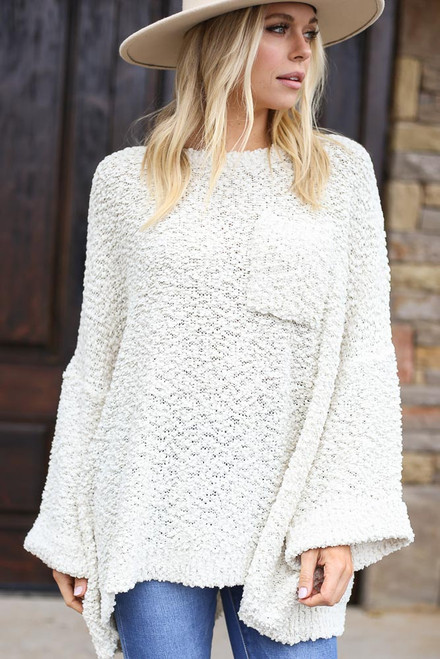 Ivory - Oversized Popcorn Knit Sweater