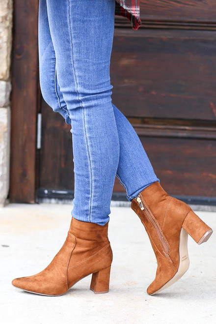Camel - Pointed Toe Block Heel Booties on Model