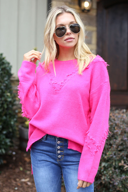 Neon Pink - Brushed Knit Oversized Sweater from Dress Up