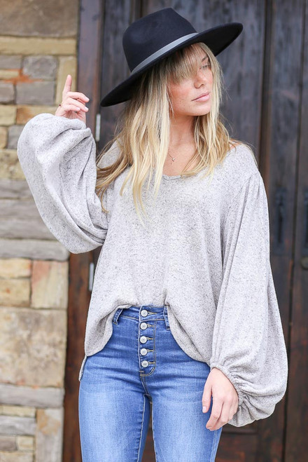 Heather Grey - Brushed Knit Balloon Sleeve Top