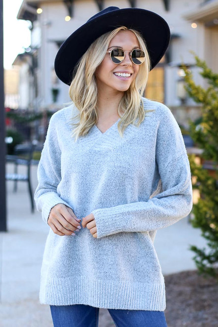 Heather Grey - Brushed Knit Oversized Sweater